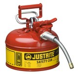 Justrite Accuflow Rojo Acero 1 gal Lata de seguridad - Altura 10 1/2 in - Diámetro total 9 1/2 in - 7210120