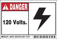 Brady 86784 Negro/Rojo sobre blanco Rectángulo Poliéster Etiqueta de advertencia de alto voltaje - Altura 3 1/2 pulg. - B-302