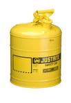 Justrite Amarillo Acero 5 gal Lata de seguridad - Altura 16 7/8 in - Diámetro total 11 3/4 in - 7150200