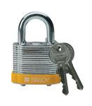 Brady Amarillo Acero 5 pernos Candado de seguridad con llave 99512 - Ancho 1 9/16 pulg. - Altura 1 1/3 pulg. - Número de llaves incluidas 2 - 754476-99512