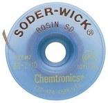 Chemtronics Soder-Wick #2 Amarillo Trenza de desoldadura de revestimiento de fundente de colofonia - Longitud 10 ft - Diámetro 0.06 in -