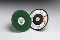 3M Green Corps Cerámico Rueda esmeriladora de superficie - 46 grano Grueso grado - Accesorio Eje - Diámetro 4 1/2 in - Agujero Central 7/8 in - Grosor 1/8 in - 50442