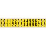 Brady Serie 34 34210 Negro sobre amarillo Paño de vinilo Kit de etiquetas de números - Interior - Ancho 9/16 pulg. - Altura 3/4 pulg.