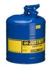 Justrite Azul Acero 5 gal Lata de seguridad - Altura 16 7/8 in - Diámetro total 11 3/4 in - 7150300