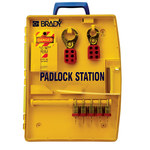Brady Amarillo Polipropileno Estación de candados - Ancho 13.25 pulg. - Altura 17 pulg. - Capacidad de Candado 5 - 754476-03457