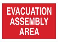 Brady B-555 Aluminio Rectángulo Cartel de evacuación de emergencia Rojo - 14 pulg. Ancho x 10 pulg. Altura - 95504