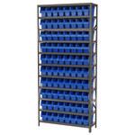 Akro-mils Shelfmax 6500 lb Ajustable Azul Gris Acero 22 ga Abierto Ajustable Sistema de estantería fijo - 80 gavetas - capacidad total 6500 lb - AS1279040 BLUE