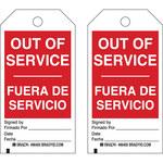Brady 86405 Negro/Rojo sobre blanco Poliéster/papel Etiqueta de mantenimiento - Ancho 3 pulg. - Altura 5 3/4 pulg. - B-837