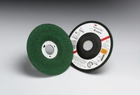 3M Green Corps Cerámico Rueda esmeriladora de superficie - 80 grano Mediano grado - Accesorio Eje - Diámetro 4 1/2 in - Agujero Central 7/8 in - Grosor 1/8 in - 50444