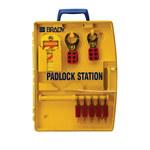 Brady Amarillo Polipropileno Estación de candados - Ancho 13.25 in - Altura 17 in - Capacidad de Candado 5 - 754476-03456