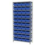 Akro-mils Shelfmax 6500 lb Ajustable Azul Gris Acero 22 ga Abierto Ajustable Sistema de estantería fijo - 40 gavetas - capacidad total 6500 lb - AS1279080 BLUE