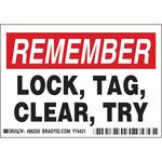 Brady 86250 Negro/Rojo sobre blanco Rectángulo Poliéster Etiqueta de bloqueo/etiquetado - Altura 3 1/2 in - B-302