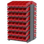 Akro-mils 1800 lb Rojo Gris Acero 16 ga Doble cara Bastidor fijo - longitud total 36 3/4 in - 80 gavetas - Gavetas incluidas - APRD18098 RED
