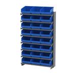 Akro-mils APRS 400 lb Azul Gris Acero 16 ga Un solo lado Bastidor fijo - longitud total 36 3/4 in - Altura 60 1/4 pulg. - 24 - Gavetas incluidas - APRS010