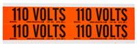 Brady 44201 Negro sobre naranja Rectángulo Paño de vinilo Marcador de conductos/voltaje - Altura 1 1/8 pulg. - B-498
