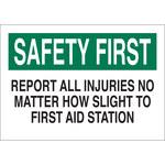 Brady B-401 Poliestireno Rectángulo Cartel de aviso de accidente Blanco - 10 pulg. Ancho x 7 pulg. Altura - 22652