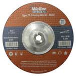 Weiler Óxido de aluminio Rueda esmeriladora de superficie - Tipo 27 - rueda de centro hundido - 24 grano Grueso grado - Accesorio Eje roscado - Diámetro 7 pulg. - Grosor 1/4 pulg. - 56468