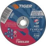 Weiler TIGER Óxido de aluminio Rueda de corte - Tipo 1 - Rueda recta - 60 grano grado - Diámetro 3 pulg. - Agujero Central 5/8 pulg. - Grosor.035 pulg - 57001