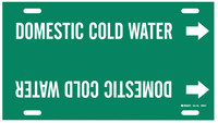 Brady 4048-F Blanco sobre verde Plástico Agua Marcador de tubería con correa con Flecha Derecha - B-915
