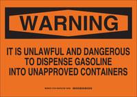 Brady B-555 Aluminio Rectángulo Señal de almacenamiento de productos químicos Naranja - 14 pulg. Ancho x 10 pulg. Altura - 16145
