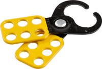 Brady Negro/Amarillo Recubierto en epoxi Acero Broche de bloqueo/etiquetado 49252 - Ancho 2.3 pulg. - Altura 5.09 pulg. - 754476-49252