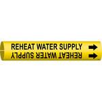 Brady Bradysnap-On 4267-A Negro sobre amarillo Plástico Agua Marcador de tubería a presión - B-915