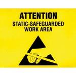 SCS ESD Papel/plástico Cuadrado Cartel de seguridad eléctrica Amarillo - 11 in Ancho x 8.5 in Altura - Laminado