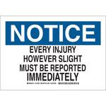 Brady B-555 Aluminio Rectángulo Cartel de aviso de accidente Blanco - 10 pulg. Ancho x 7 pulg. Altura - 127404