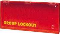 Brady Prinzing Amarillo sobre rojo Acrílico Caja de bloqueo grupal 50088 - Ancho 15.75 pulg. - Altura 7.5 pulg. - Capacidad de Candado 14 - 754476-50088