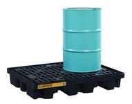 Justrite Negro Ecopolyblend 2500 lb 67 gal Tarima para derrames - Apoya 2 Barriles - Ancho 55 pulg. - Longitud 45 pulg. - Altura 9 pulg. - 697841-13354