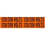 Brady 44259 Negro sobre naranja Rectángulo Paño de vinilo Marcador de conductos/voltaje - Altura 1 1/8 pulg. - B-498