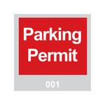 Brady 95200 Rojo/blanco sobre gris Cuadrado Vinilo Etiqueta de permiso de estacionamiento - Ancho 3 in - Altura 3 in - Imprimir números = 001 a 100