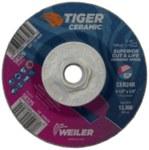 Weiler Tiger Ceramic Cerámico Disco esmerilador - Tipo 27 - rueda de centro hundido - Diámetro 4 1/2 pulg. - Agujero Central Eje de 5/8 in - 11 - Grosor 1/4 pulg. - 58326