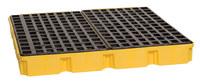 Eagle Amarillo/negro Polietileno de alta densidad 10000 lb 60 1/2 in Tarima para derrames - Apoya 4 Barriles - Ancho 51 1/2 in - Longitud 52 1/2 in - Altura 6 1/2 in - 048441-00488
