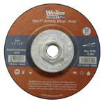 Weiler Óxido de aluminio Rueda esmeriladora de superficie - Tipo 27 - rueda de centro hundido - 24 grano Grueso grado - Accesorio Eje roscado - Diámetro 4 1/2 pulg. - Grosor 1/4 pulg. - Vortec Pro, R