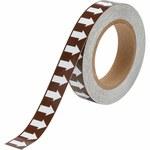 Brady 109928 Blanco sobre marrón Cinta de flecha de flujo direccional - Ancho 1 pulg. - Longitud 30 yd - B-946
