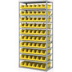 Akro-mils Amarillo Gris Acero 22 ga Sistema de estantería de bandeja de sistema - 10 gavetas - AS1879318 YELLOW