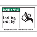 Brady 86880 Negro/Verde sobre blanco Rectángulo Poliéster Etiqueta de bloqueo/etiquetado - Altura 3 1/2 pulg. - B-302