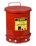 Justrite Rojo Acero 10 gal Lata de seguridad - Altura 18 1/4 in - Diámetro total 13 15/16 in - 09300