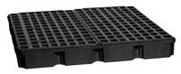 Eagle Negro Polietileno de alta densidad 10000 lb 60 1/2 in Tarima para derrames - Apoya 4 Barriles - Ancho 51 1/2 in - Longitud 52 1/2 in - Altura 6 1/2 in - 048441-00489