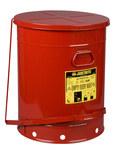 Justrite Rojo Acero 21 gal Lata de seguridad - Altura 23 7/16 in - Diámetro total 18 3/8 in - 09700