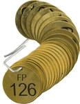 Brady 23672 Negro sobre cobre Círculo Latón Etiqueta para válvula numerada con encabezado - Ancho 1 1/2''de diámetro - Imprimir números = 126 a 150 - B-907