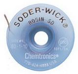 Chemtronics Soder-Wick #80 Blanco Trenza de desoldadura de núcleo de fundente de colofonia - Longitud 10 ft - Diámetro 0.03 in -
