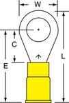 3M Scotchlok MVU10-516R/SK Amarillo Unido Vinilo Terminal anillado embutido - Longitud 1.26 pulg. - Ancho 0.53 pulg.0.53 pulg. - 01954