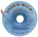 Chemtronics Soder-Wick #4 Azul Trenza de desoldadura de revestimiento de fundente de colofonia - Longitud 5 ft - Diámetro 0.11 in -
