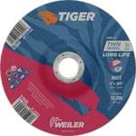 Weiler TIGER Óxido de aluminio Rueda de corte - Tipo 27 - rueda de centro hundido - 60 grano grado - Diámetro 6 pulg. - Agujero Central 7/8 pulg. - Grosor.045 pulg - 57045