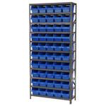 Akro-mils Shelfmax 6500 lb Ajustable Azul Gris Acero 22 ga Abierto Ajustable Sistema de estantería fijo - 50 gavetas - capacidad total 6500 lb - AS1279090 BLUE