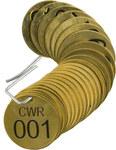 Brady 87100 Negro sobre cobre Círculo Latón Etiqueta para válvula numerada con encabezado - Ancho 1 1/2''de diámetro - Imprimir números = 1 a 25 - B-907