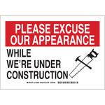 Brady B-555 Aluminio Rectángulo Señal de aviso de construcción Blanco - 10 pulg. Ancho x 7 pulg. Altura - 126858