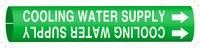 Brady 4044-F Blanco sobre verde Plástico Agua Marcador de tubería con correa con Flecha Derecha - B-915